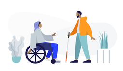 Illustration of woman in wheelchair and man holding white cane