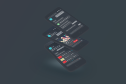 stack of phones displaying dark mode