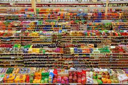 an aerial shot of the groceries section of the Fred Meyer superstore in Redmond, WA